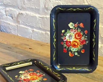 Set of Four Painted Miniature Metal Trays Victorian Style Black with Flower Bouquet Serving Snacks, Coffee, Tea or Coasters at VintageHeist