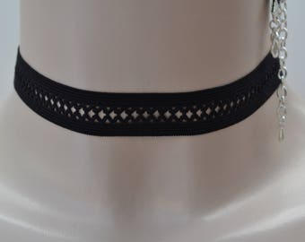 FISHNET Zig Zag BLACK Elastic Lace 16mm Choker Necklace - ek... handmade to size :)