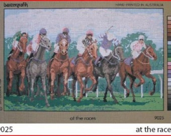 """Horse Race """"At The Races"""" Needlepoint Canvas NEW"""