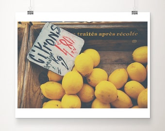 lemon photograph kitchen wall art food photography lemon print fruit photograph french decor farmers market photograph yellow decor