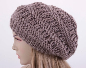 Winter hat slouchy beanie  oversized beanie hat winter knit hat for woman in beige  -COLOR OPTION  AVAILABLE