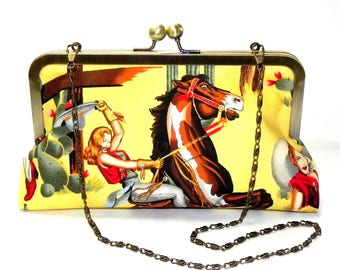 Cowgirl and Horse Clutch - Yellow, red, brown, blue and green - Brass kisslock frame with chain