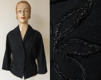1950s vintage black embroidered JACKET light wool two pockets raglan sleeves size M to L 50s