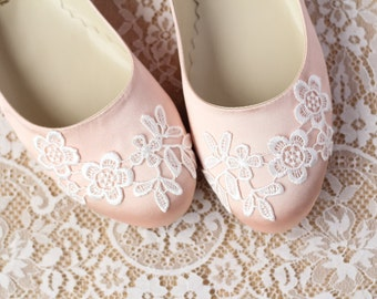 Wedding Flat Shoes Peach Salmon Satin Bridal Ballet Flats with Lace Guipure Bride Engagement Special Night Size 10 (US)