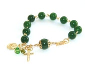 Divine Mercy Rosary Bracelet, Green Nephrite Jade & Gold