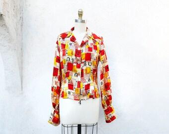 Vintage Mid Century Blouse, Novelty Print Satin Silk 1950s Fashion, Made in California, USA