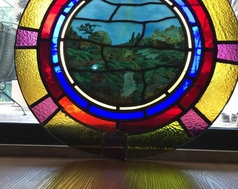 Antique Asthetic c 1890 Stained Glass Bethlehem North Star Church Window