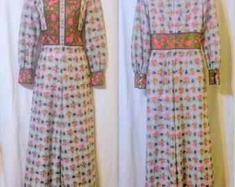 Vintage MEL WARSHAW 1960's Floral Border Print Jumpsuit Size 8