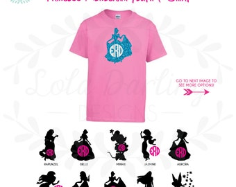 Monogram Disney Princess Inspired Heat Press YouthT-Shirt / Disney Vacation Trip