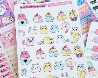 Kawaii Kitty Plops~ Deco Stickers for All Planners