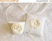 WEDDING SALE 20% OFF Flower Girl Basket Set Ring Bearer Pillow,  Wedding Ring Pillow, Ring Pillow Wedding Pillow Elegant and Classic