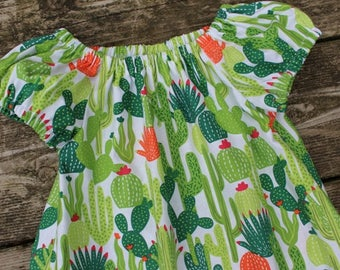 Girl's Infants Toddlers Cactus Peasant Dress