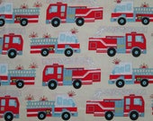 Firetrucks Fire Trucks Blue Red Cream Cotton Fabric Fat Quarter Or Custom Listing