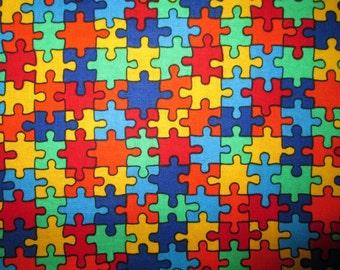 Colored Puzzle Piece Autstism Bright Cotton Fabric Fat Quarter Or Custom Listing