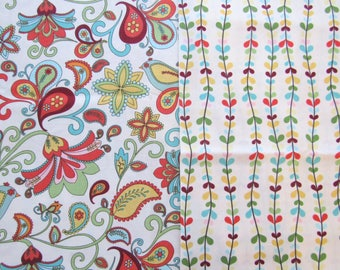 1+ Yard Bloom & Grow Fabric Riley Blake My Mind's Eye Cotton Quilting Fabric Out of Print OOP Floral Paisley with Birds Trailing Leaves