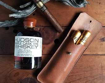 Ready To Ship! * Leather Cigar Case * English Tan and Nickel * Handmade in USA * Sorringowl & Sons