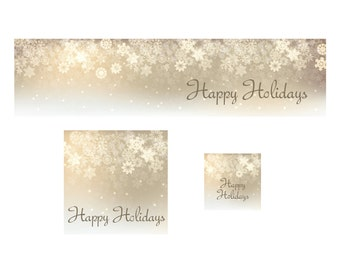 Golden Snowflakes Christmas Shop Banner Cover Photo Shop Icon and Avatar Premade Holiday