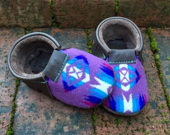 SALE // Scout Baby Moccasin 12-18 month // Lavender Turquoise Pendleton Wool Brown Leather // Rosebud Originals