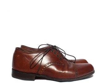 7 D* | Custom Made Cap Toe Oxfords in Brown Leather