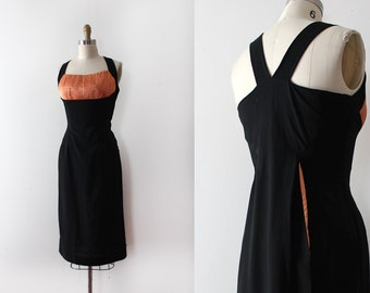 vintage 1950s wiggle dress // 50s bombshell evening cocktail dress