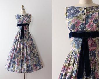 vintage 1950s dress // 50s blue and pink floral day dress