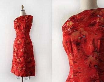 vintage 1960s dress // 60s red brocade one shoulder wiggle dress