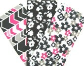 SALE 3 Pack Bundle of Cotton Flannel Fat Quarters in Black, White and Pink Flowers and Split Chevron Prints