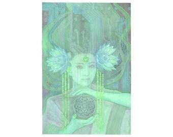 Ghost In The Machine - Original Art in blue and green