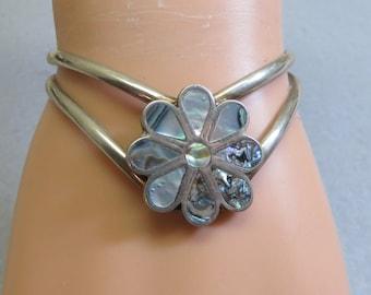 Abalone Cuff Bracelet, Flower Design, Alpaca Metal