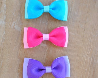 Bow tie hair bows, Girls Hair bow, Toddler Hair bow, Girls tuxedo bow, Non slip grip hair bow, 3 inch hair bow, You choose color