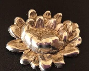 Vintage Art Nouveau Repousse Silver Tone High Relief Flower Brooch