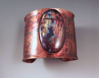 Red Rainbow Labradorite- Spectrolite- Rainbow Swirl Patina- Copper Cuff- Boho Chic- Gorgeous Statement Cuff Bracelet