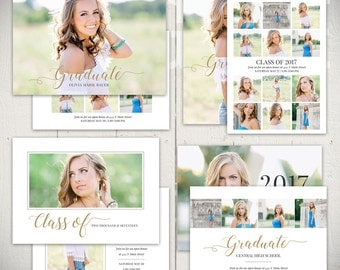 Graduation Card Templates: Ambition - Set of Four 5x7 Senior Announcement Card Templates