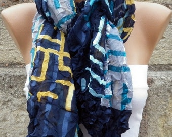 ON SALE --- Blue & Mustard Crinkle Scarf,Fall Shawl,Christmas Gift,Gift Ideas,Women Scarves,Holiday Scarf