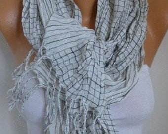 ON SALE --- Plaid Linen Scarf, Fall Fashion Scarf, Shawl, Oversized Wrap, Bridesmaid Gift, Gift Ideas For Her, Women Fashion Accessories
