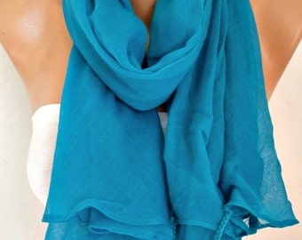 ON SALE --- Teal Cotton Tassel Scarf, Shawl,Spring Summer Scarf, Cowl Oversized Wrap Gift Ideas For Her Women Fashion Accessories Bridesmaid