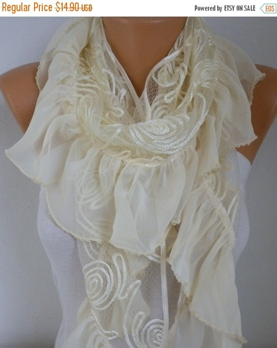 ON SALE --- Pale Yellow Scarf Shawl, Summer Cowl Bridal Accessories Bridesmaid gift Gift Ideas For Her Women Fashion Accessories,Wedding Sca