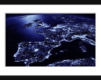NASA - Earth At Night - Western Europe - Print - Poster - Blue