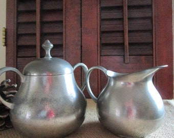 Pewter Sugar Bowl and Creamer    Lidded Sugar and Pitcher   Royal Holland Pewter