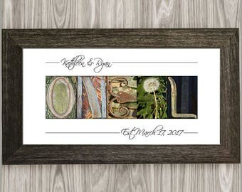 Wedding Gift, Last Name Sign, Framed Alphabet Photography, Personalized Wedding Gift