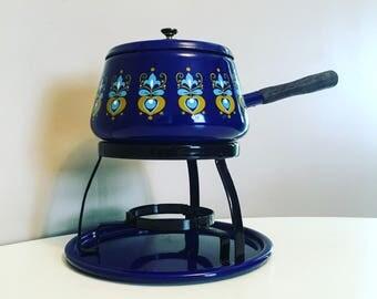 Mid Century Modern Fondue Pot / Vintage Fondue Cooking Set / Mod Retro Blue Floral Fondue Set / Enamel Cookware