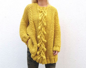 Merino Wool Bubbles and Cable Pullover. Choose Your Color.