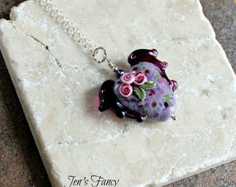 Flying Heart Art Glass Pendant Necklace, Sterling Silver, Purple Heart, Floral, Womens Gift, Mother's Day, Unique, Handcrafted, Heart Jewelr