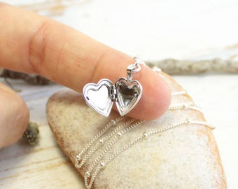 Tiny Sterling Silver Heart Locket Necklace