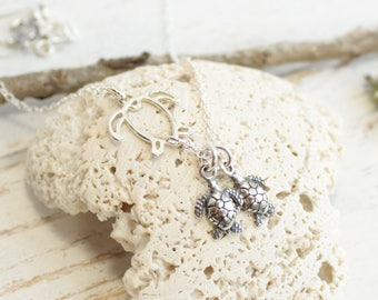 Sterling Silver Sea Turtle Family Tree Necklace... Choose how many Baby Turtles...
