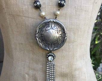 One of a Kind Assemblage Art Nouveau Sterling Necklace