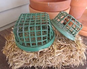 Green Flower Frog Embossed Pair Wire Cage style Flowers Pens Paperweight Bookends Prop Dazey Mfg Co NY LA No 2 Lot of two for one money