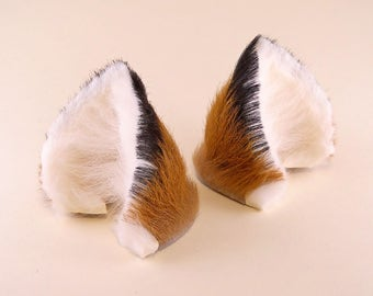 Small Fox Brown White Black Long Fur with Inner White Fox Hair Leather Fox Ears Kitsune Cosplay Furry Goth Fantasy LARP Costume Pet Play