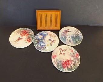 Vintage Ceramic Drink Coaster Set with Wood Caddy, Serving Utensils, Ceramic Coasters, Bird Decor, Hummingbirds, Hand Painted, Artist Signed