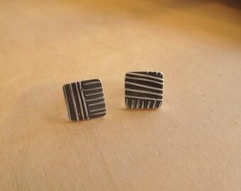 Geometric Lines Post Earrings Sterling Silver